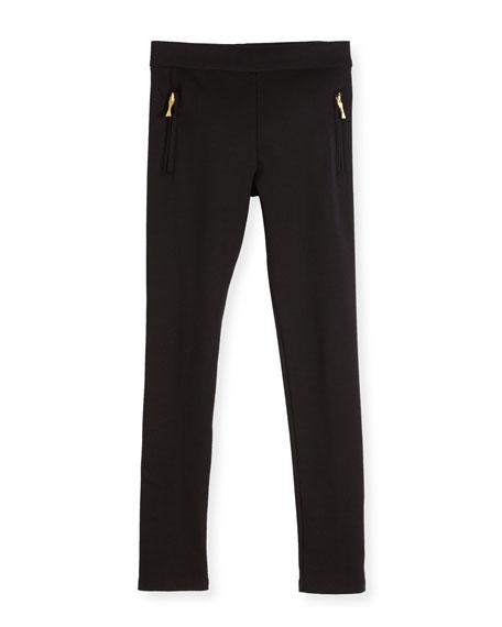 zip-trim ponte leggings, black, size 2-6
