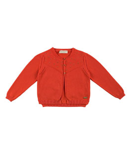 Studded Cotton Cardigan, Red, Size 4-10