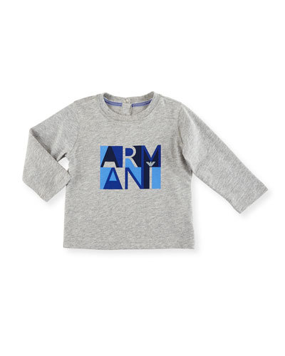 Long-Sleeve Heathered Logo Tee, Gray, Size 12M-3