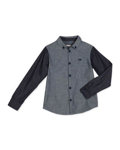 Long-Sleeve Two-Tone Chambray Shirt, Black/Gray, Size 4-12