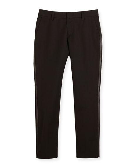 Armani Junior Tribe Faux-Leather-Trim Tuxedo Pants, Black, Size