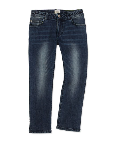 Classic Slim-Fit Denim Jeans, Blue Navy, Size 4-12