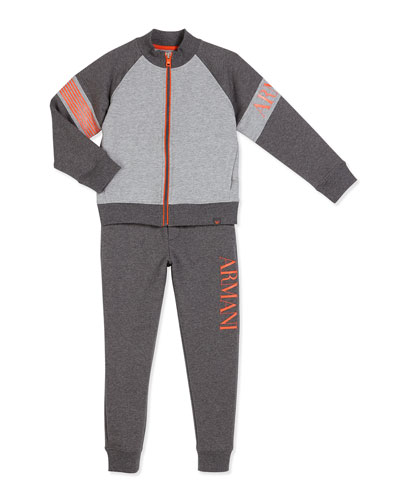 Two-Piece Raglan Track Suit, Gray, Size 4-12