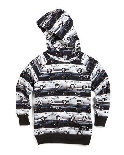 Russel Car Stripes Hooded Sweatshirt, Black/White, Size 4-10