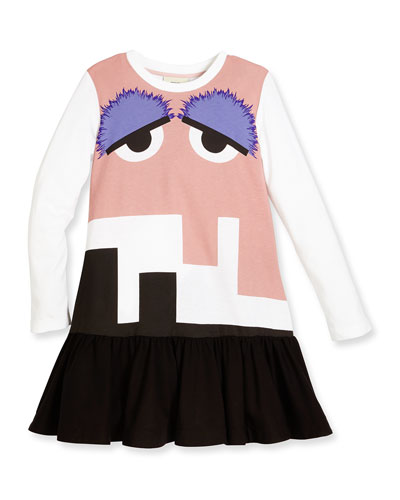 Long-Sleeve Jersey Monster Dress, White/Multicolor, Size 6-8
