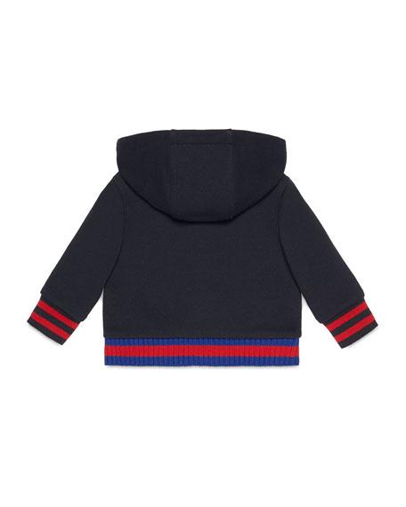 Hooded Felt Zip-Front Sweatshirt, Gray, Size 6-36 Months