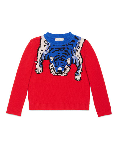 Wool Tiger Crewneck Sweater, Red, Size 4-12