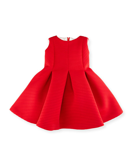 Helena Sleeveless Pleated Shadow Stripe Scuba Dress, Red, Size 12-18 Months
