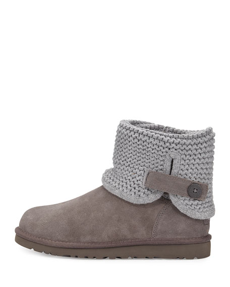 Darrah Knit & Suede Boot, Gray, Youth