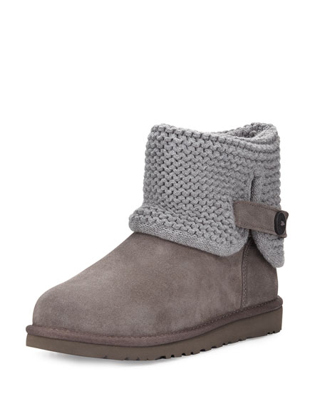 UGG Darrah Knit & Suede Boot, Gray, Youth