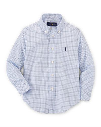 Printed Poplin Custom-Fit Shirt, Size 2-7