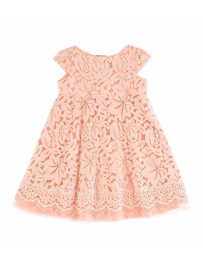 Cap-Sleeve Lace Circle Dress, Coral, Size 4-10