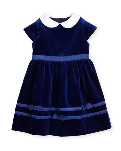 Cap-Sleeve Velvet Dress, Royal, Size 2-6
