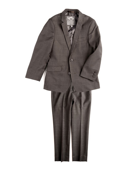 Mod Check Two-Piece Suit, Charcoal, Size 2T-14