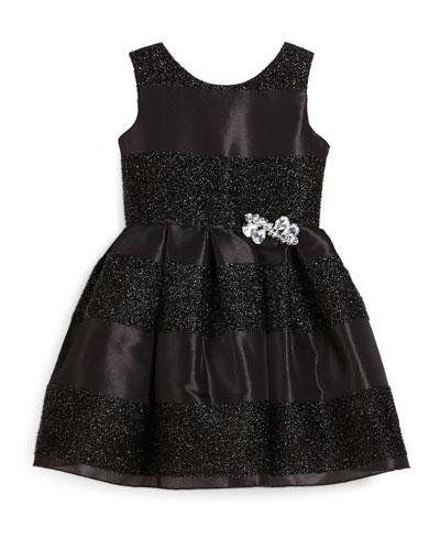 Sleeveless Jacquard Striped Party Dress, Black, Size 4-6