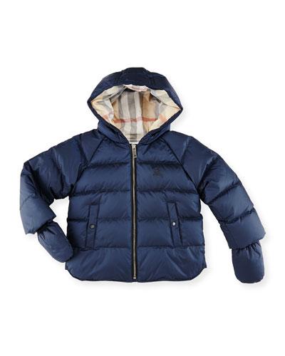 Rilla Hooded Raglan Puffer Jacket, Navy, Size 6M-3Y