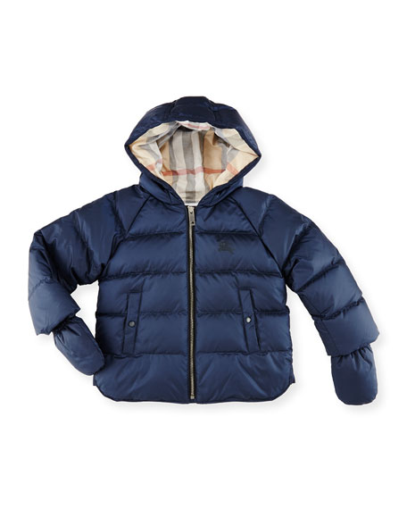 Burberry Rilla Hooded Raglan Puffer Jacket, Navy, Size