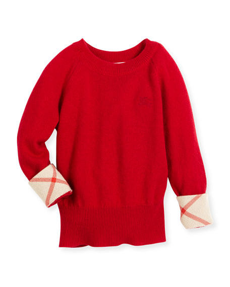 Georgey Cashmere Check-Cuff Pullover Sweater, Parade Red, Size 4-14