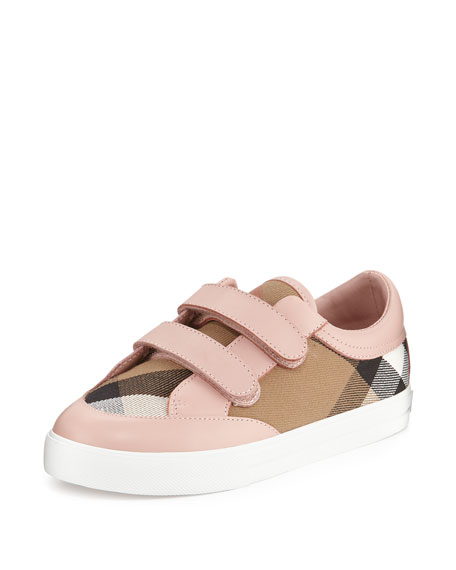 Burberry Heacham Check Canvas Sneaker, Peony Rose/Tan, Youth