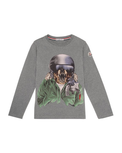 Winter Bear Jersey Tee, Gray, Size 4-6