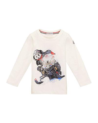 Snowmobile Panda Jersey Tee, White, Size 4-6