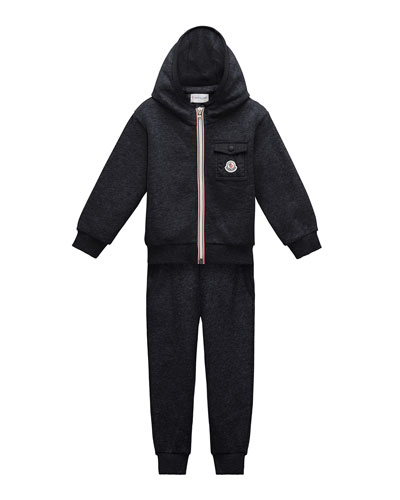 Hooded Zip-Front Track Jacket w/ Pants, Navy, Size 4-6