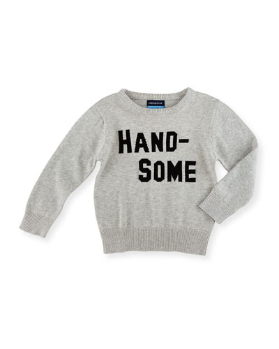 Handsome Heathered Pullover Sweater, Gray, Size 2-7