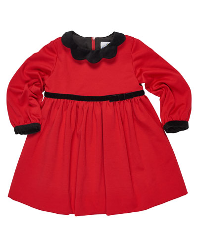Ponte Knit Dress w/Velvet Detail, Red, Sizes 2-6