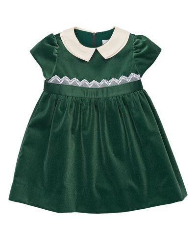 Cap-Sleeve Collared Velour Dress, Green, 3-18 Months