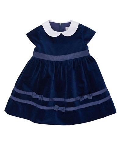 Velvet Dress w/ Ribbon Trim, Royal, 3-18 Months