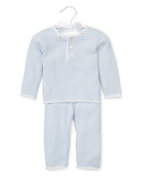Ralph Lauren Childrenswear Cashmere Two-Piece Pajama Set, Blue,