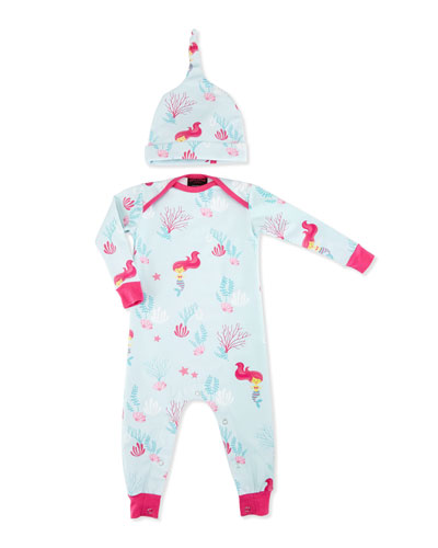 Jersey Mermaid Coverall w/ Hat, Aqua, Size 3-24 Months