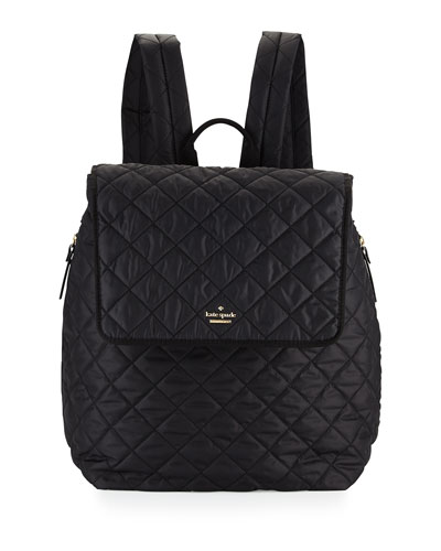 torrence quilted nylon baby backpack, black