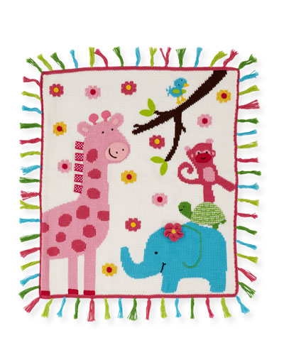 Kids' Jungle Mania Tassel Blanket