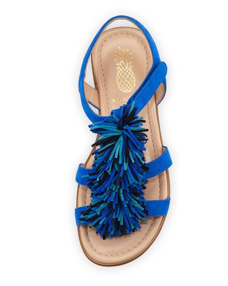 Wild Fringe Suede Sandal, Blue, Toddler/Youth Sizes 11T-2Y