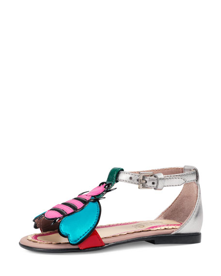Gucci Metallic Leather Graphic Sandal, Toddler
