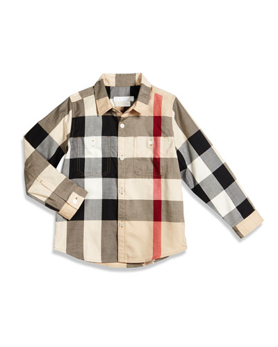 Mini Camber Check Shirt, Tan, Size 4-14