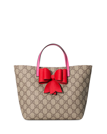 Gucci Girls' GG Supreme Canvas Tote Bag, Beige