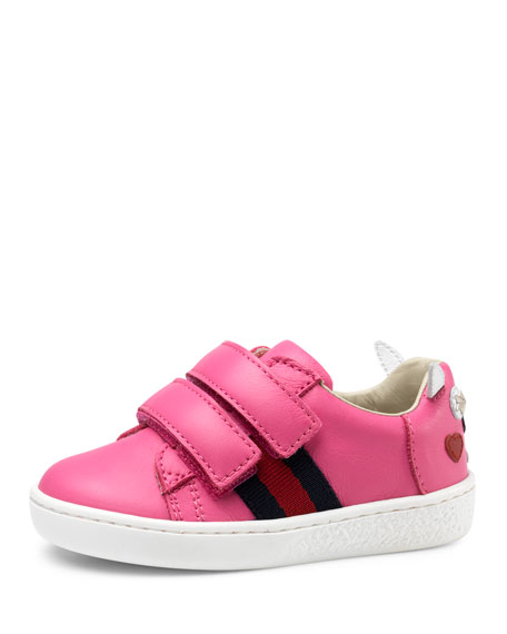 Gucci Leather Grip-Strap Rabbit Sneaker, Pink, Toddler