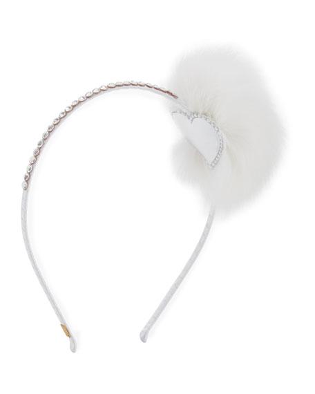 Rhinestone & Fox Fur Pompom Headband