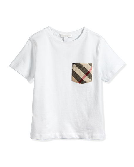 Burberry Check-Pocket Crewneck Tee, White, 6Y-10Y