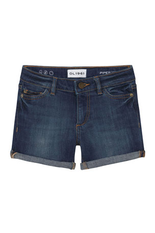 DL1961 Premium Denim Girl's Piper Cuffed Denim Shorts, Size 2-6