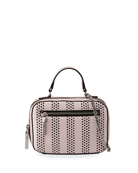 Milly Minis Girls' Mini Perforated Leather Crossbody Bag,