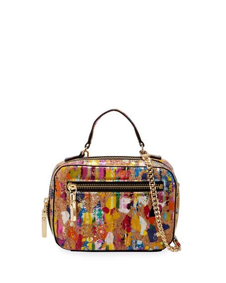 Milly Minis Girls' Mini Paint-Stripe Cork Crossbody Bag,