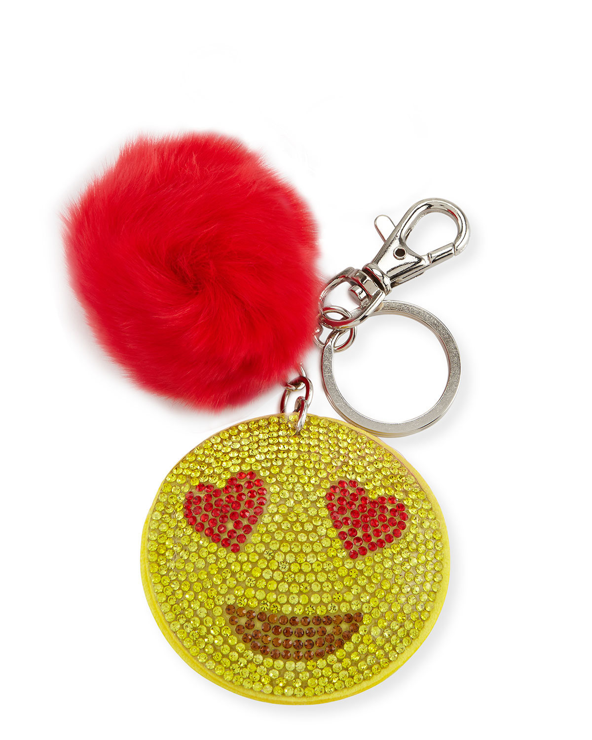 Bari Lynn Girls Crystal Star-Eyed Smiley Face Mirror Key Chain w/ Fur Pompom lm2jiN