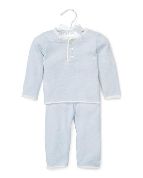 Ralph Lauren Childrenswear Cashmere Two-Piece Pajama Set, Blue,