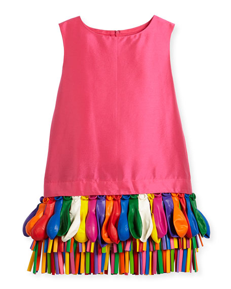 Charabia Ida Sleeveless Taffeta Shift Dress w/ Balloons,