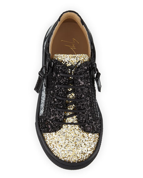 Glittered Leather Sneaker, Infant/Toddler Sizes 6M-9T