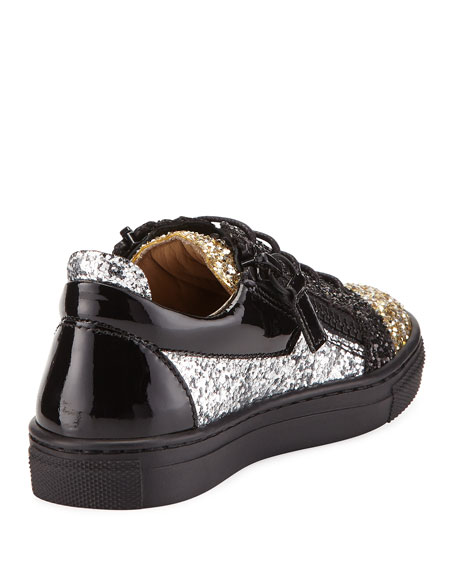 Glittered Leather Sneakers, Toddler/Youth Sizes 9T-2Y