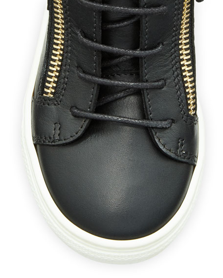 Kids' Unisex Wing Leather Sneaker, Black, Youth